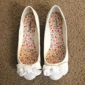 White Lacey Flats